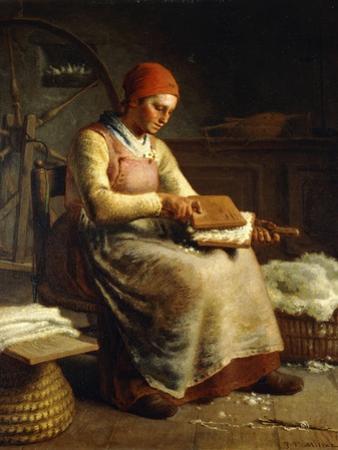 Woman Carding Wool by Jean-François Millet