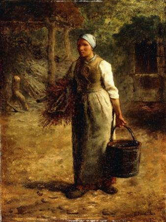 Woman Carrying Firewood and a Pail, C.1858-60 by Jean-François Millet