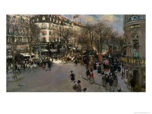 The Boulevard des Italiens, circa 1900 by Jean Francois Raffaelli