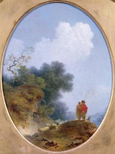 A Shepherd Playing the Flute Whilst a Peasant Girl Listens, 1765 by Jean-Honore Fragonard