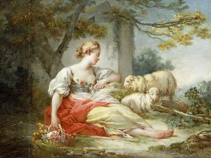 A Shepherdess Seated with Sheep and a Basket of Flowers Near a Ruin in a Wooded Landscape by Jean-Honoré Fragonard