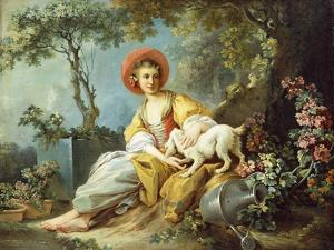 A Young Woman Seated with a Dog and a Watering Can in a Garden by Jean-Honoré Fragonard