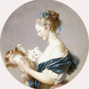 Girl Playing with a Dog and a Cat (Said to Be Marie-Madeline Colombe) by Jean-Honoré Fragonard