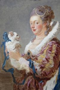 Portrait of a Woman with a Dog by Jean-Honoré Fragonard
