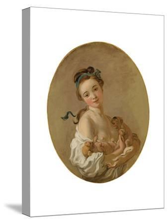Young Girl Holding Two Puppies, C.1770