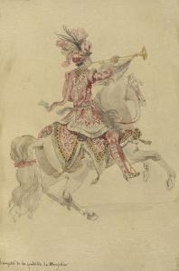 Costume de Carrousel : projet pour celui d'un cavalier, Trompette de la quadrille du Dauphin by Jean I Berain