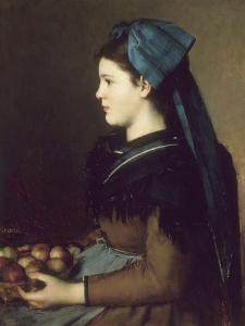 Eugenie Henner in Alsace, Holding a Basket of Apples by Jean Jacques Henner