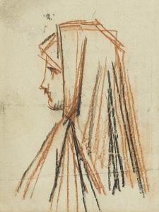 Femme de profil, au voile rouge, étude pour Fabiola by Jean Jacques Henner