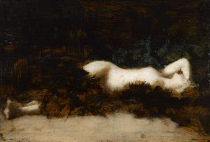 Femme nue couchée dans une fourrure by Jean Jacques Henner