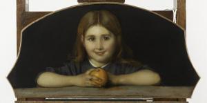 Fillette tenant à la main une orange by Jean Jacques Henner