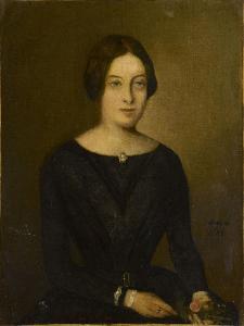 Portrait de femme en noir by Jean Jacques Henner