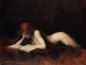 Reclining Nude Woman Reading a Book by Jean-Jacques Henner