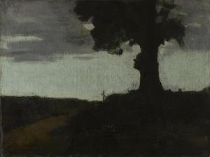 Route de Galfingen avec le vieux cerisier et la croix by Jean Jacques Henner