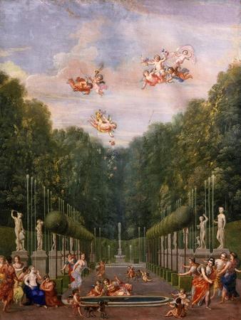 Galerie Des Antiques, Gardens of Château De Versailles, France, Gouache