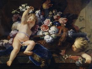 Deux enfants jouant avec des fleurs by Jean Jouvenet