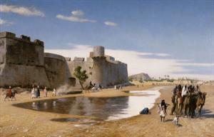 An Arab Caravan outside a Fortified Town by Jean Leon Gerome