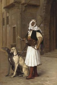Anaute Avec Deux Chiens Whippets, 1867 by Jean Leon Gerome