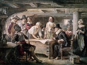 Signing the Mayflower Compact, 1620 by Jean Leon Gerome Ferris