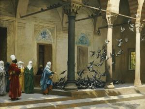 Harem Women Feeding Pigeons in a Courtyard by Jean Leon Gerome