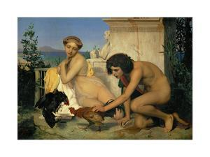 Jeuns Grecs faisant battre des coqs-Young Greeks with fighting cocks by Jean-Leon Gerome