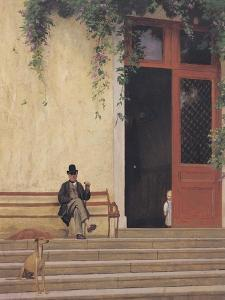 The Artist's Father and Son on the Doorstep of His House, circa 1866-67 by Jean Leon Gerome