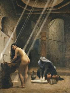 The Moorish Bath (Woman in a Turkish Bath); Un Bain Maure (Femme Turque Au Bain), C.1889 by Jean Leon Gerome