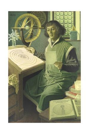 An Illustration of Copernicus at Work in His Study