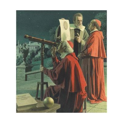 An Illustration Shows Galileo Explaining Moon Topography to Skeptics