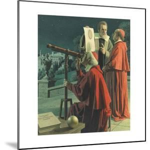 An Illustration Shows Galileo Explaining Moon Topography to Skeptics by Jean-Leon Huens