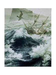 Painting of Storm-Tossed Golden Hind Ship in the Pacific Ocean by Jean-Leon Huens