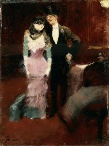 Leaving a Masquerade Ball at the Paris Opera, Late 19th or Early 20th Century by Jean Louis Forain