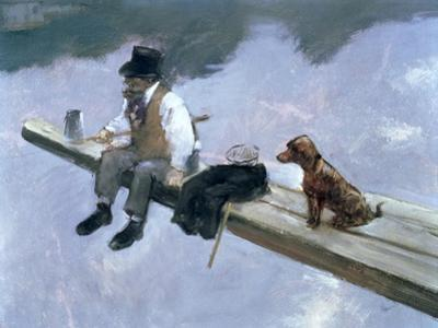 The Fisherman, Detail of a Man Fishing, 1884 by Jean Louis Forain