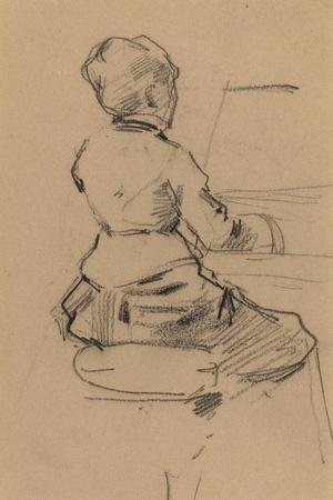 Young Woman Seated at a Piano [verso], c.1890