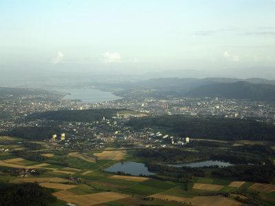 Aerial View of the City, Lakes and Surrounding Hills, Zurich, Switzerland