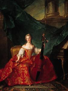 Madame Henriette De France (1727-52) in Court Costume Playing a Bass Viol, 1754 by Jean-Marc Nattier