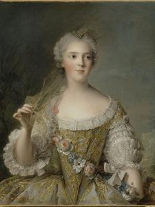 Madame Sophie de France, fille de Louis XV (1734-1782), représentée en buste tenant une guirlande by Jean-Marc Nattier