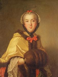 Portrait of Louis-Henriette De Bourbon-Conti, with Muffler by Jean-Marc Nattier