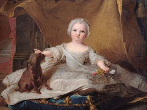 Portrait of Marie-Zephyrine (1750-55) of France with Her Dog, 1751 (Oil on Panel) by Jean-Marc Nattier