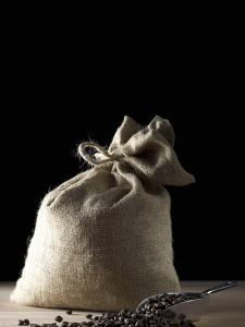 Sack of Coffee Beans with Coffee Beans in Scoop by Jean-Michel Georges