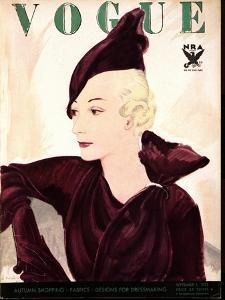 Vogue Cover - September 1933 by Jean Pag?s