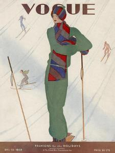 Vogue Cover - December 1928 by Jean Pagès