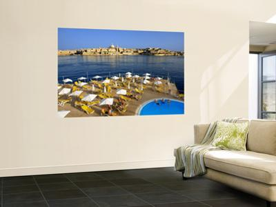 Valletta Skyline with Tourists Relaxing around Pool in Foreground by Jean-pierre Lescourret