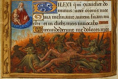 Book of Hours, Detail: Dives Tormented by Demons and Watched by the Soul of Lazarus, C. 1500