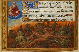 Book of Hours, Detail: Dives Tormented by Demons and Watched by the Soul of Lazarus, C. 1500 by Jean Poyet