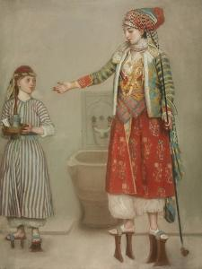 A Lady in Turkish Costume with Her Servant at the Hammam, Mid of the 18th C by Jean-?tienne Liotard