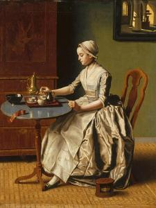 A Lady Pouring Chocolate (La Chocolatièr), C. 1745 by Jean-?tienne Liotard