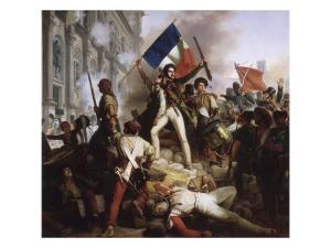 Le combat devant l'Hôtel de Ville, le 28 juillet 1830 by Jean Victor Schnetz