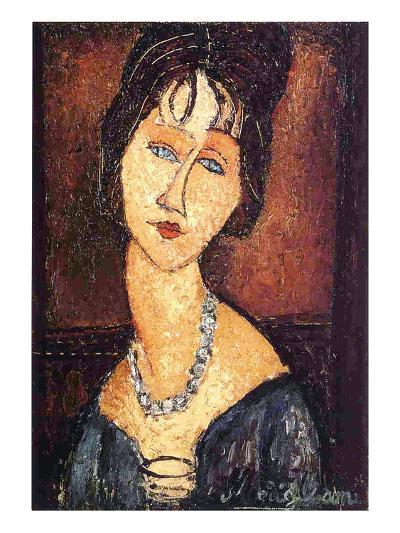 Jeanne Hebuterne with a Necklace, 1917-Amedeo Modigliani-Giclee Print