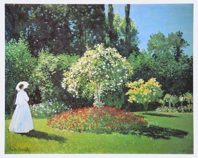 Jeanne Marguerite Lecadre in Her Garden, 1866-Claude Monet-Art Print