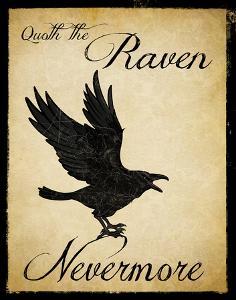 Nevermore - The Raven Literary Poster. Vintage Style Edgar Allan Poe Poster. by Jeanne Stevenson